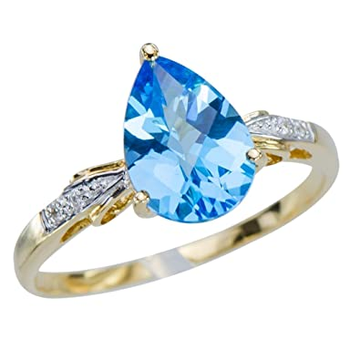GemsLovers 18K Gold Genuine Blue Topaz Womens Ring - November Birthstone