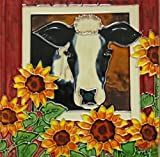 Continental Art Center BD-2217 8 by 8-Inch Barn Cow with Sunflowers Ceramic Art Tile