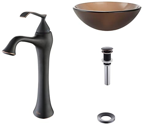 Kraus C-GV-103FR-12mm-15000ORB Frosted Brown Glass Vessel Sink and Ventus Faucet Oil Rubbed Bronze