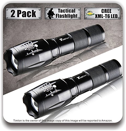 Timlon-2-Pack-LED-Tactical-Flashlight-Cree-XM-L-T6-2000-Lumen-5-Switch-Modes-Zoomable-and-Waterproof-LED-Flashlightblack
