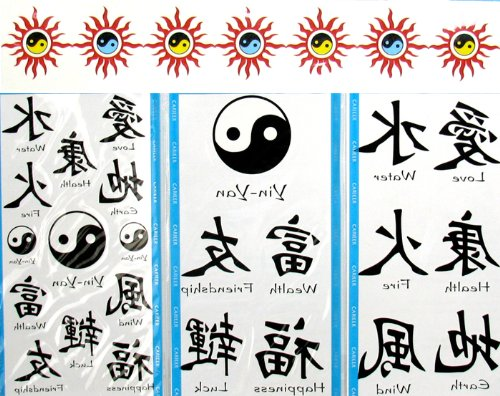 Asian Temporary Tattoos Chinese Character Tattoos (12 Large Packs) Yin Yang