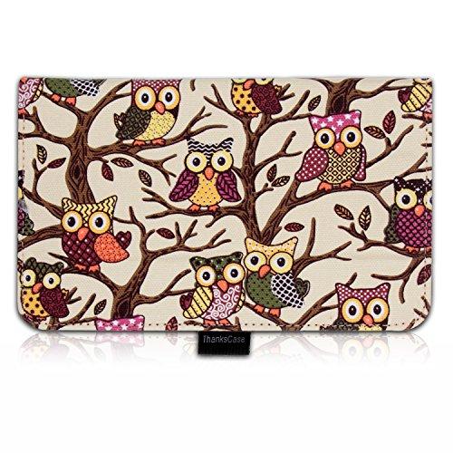 Thankscase Asus Memo Pad 7 Me176Cx Case Cover Built-In Elastic Hand Strap Slim Lightweight Smart Owls Canvas Case Smart Cover For Asus Memo Pad 7.(Beige Owls)