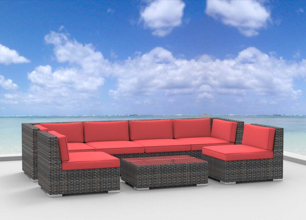 www.urbanfurnishing.net Urban Furnishing - OAHU 7pc Modern Outdoor Backyard Wicker Rattan Patio Furniture Sofa Sectional Couch Set - Coral Red at Sears.com