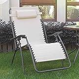 1PerfectChoice 2 pc Patio Pool Folding Zero Gravity Chair Lounge Recliner Textlene Fabric Cream