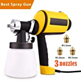 Paint Sprayer, High Power Paint Sprayer Electric Spray Gun Home HVLP Sprayer with 3 Spray Patterns 3 Nozzle Sizes & 900 ml Detachable Container and Adjustable Valve Knob (Color: Yellow)
