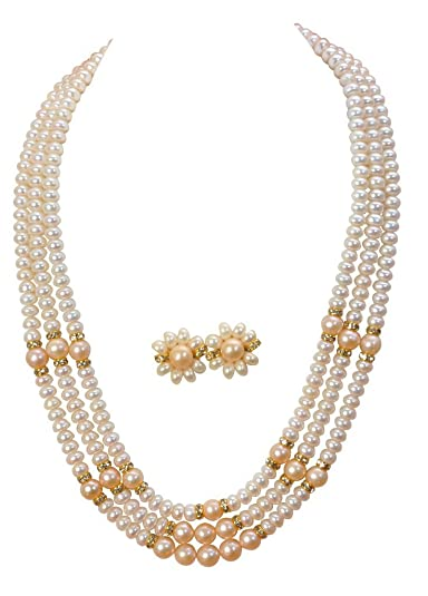 Classique Designer Silver Alloy With Gold Plated Button Pearl Necklace Set For Women(cp013) at amazon