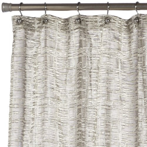 Editex Home Textiles Barbara Shower Curtain, 70 by 72-Inch, Silver
