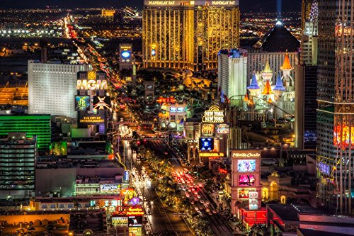 Tomorrow sunny D033 Las Vegas Nevada USA Nightlife City Poster Art Wall Pictures for Living Room in Canvas fabric cloth Print (Las Vegas Picture Frame compare prices)