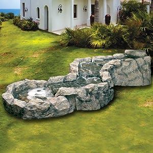 Fontana a cascata in poliresina per arredo esterno giardino zen effetto rocce - Fontana da giardino amazon ...