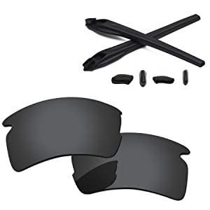 65b2fca9ee8 PapaViva Replacement Lenses   Rubber Kits for Oakley Flak 2.0 XL Black Grey