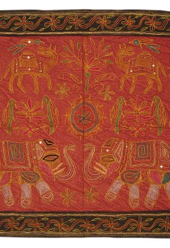 Imagen 1 de Wall Hanging algodón indio Tabla Tapestry Throw Adorna con bordados y lentejuelas Zari trabajo Tamaño 34 x 24 pulgadas