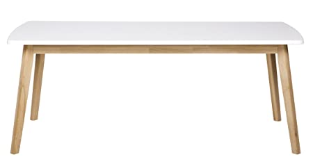 Table à manger en pin massif, coloris blanc - Dim : H 200 x L 90 x P 76 cm - PEGANE -
