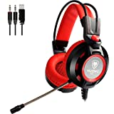 Gaming Headset with Microphone for PC Games Over Ear Computer Headphones USB Red 3.5mm Nubwo Skin-friendly Earpads Gamer Headset for with Led Light & In-line Volume Control (Color: Red)