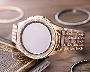 Dsytom Jewelry Bezel Ring Compatible with Galaxy Watch Bezel 42mm,Gear Sport Watch Bezel Cover Protector Adhesive Loop Anti Scratch Design for Samsung Galaxy Watch 42mm/Gear Sport(Rose Gold) (Color: Rose gold)