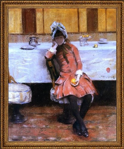 "William Merritt Chase Young Girl On An Ocean Steamer - 20"" X 25"" Framed Premium Canvas Print front-519700"