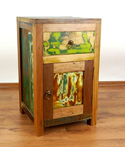Teakholz Nachtschrank aus Java | Recyceltes buntes Bootsholz | Asiatische Möbel | Designer Möbel aus Bootsholz | Massivholzkommode der Marke Asia Wohnstudio | Nachttisch