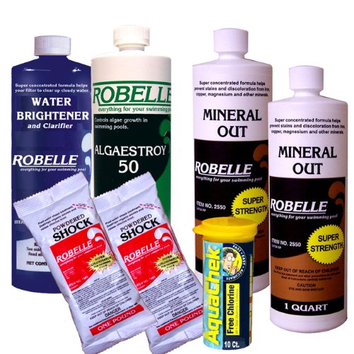 Robelle Clarifier, Mineral Out, Algaecide, Calcium Hypochlorite Shock Swimming Pool Start-Up Chemical Kit For Pools Up To 20,000 Gallons