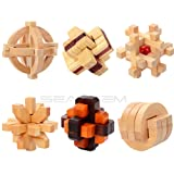 Inpay - Set of 6 Puzzle Wooden Puzzle Cube Games - 3D Interlocking Blocks for Teens and Adults - Brain Training Intelligence Travel Toys Leisure Games (C) (Tamaño: C)