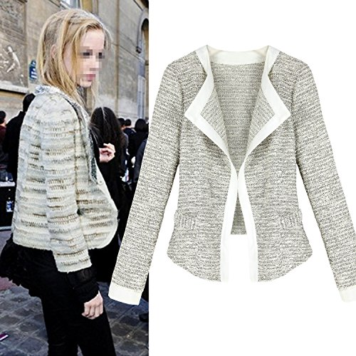 EA Selection Women Cardigan Blazer Cascading Long Sleeve Jacket Grey-White L