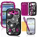 Tradekmk(TM) Glaring Fireworks Paint Colorful Hybrid Hard Soft Silicone Armored Back Case Cover Protector For Samsung Galaxy S3 i9300(Black with Pink),with Stylus Pen,Screen Protector and Cleaning Cloth