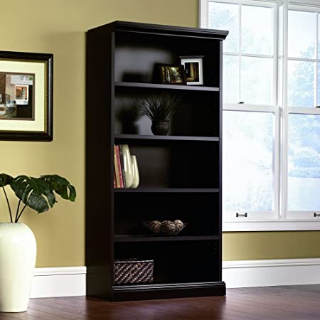 Sauder Library Bookcase, Estate Black Finish