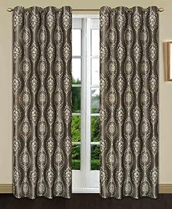 Dainty Home Monaco Heavy Jacquard Grommet Window Panel, 52 by 84-Inch, Silver