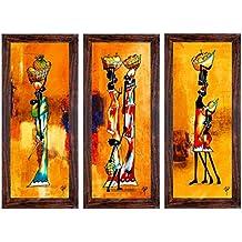 RAY DÉCOR'S Set Of 3 Framed Painting (Fibre, 45 Cm X 4 Cm X 35 Cm, Set Of 3, Textured UV Prints)- Wall Decor/... - B01NCZ5AWU