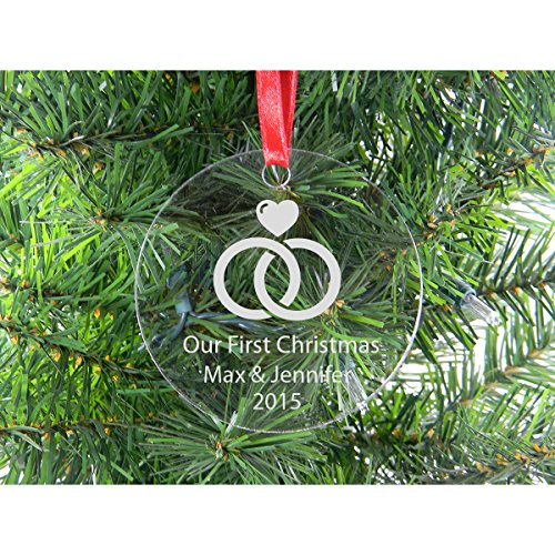 Personalized Add Your Custom Text - Our First Christmas with Wedding Rings Clear Acrylic Christmas Tree Ornament with Personalized Names, Year, and Red Ribbon