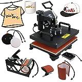 5 in 1 Dual Digital Transfer Sublimation Heat Press Machine 360-degree Rotation Heat Press Machine Hat/Mug/Plate/Cap/T-Shirt Multifunction Black (Color: Black, Tamaño: 12*15inch)