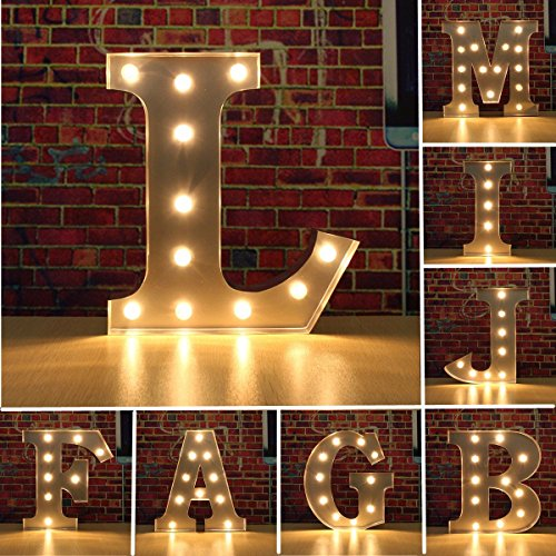 SOLMORE 30CM x 5CM LED Metal Marquee Letter Lights Vintage Circus Style Alphabet Light Up Sign Decoration H 5