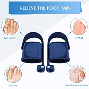 Bunion Corrector Big Toe Straightener, Bunion Splints for Night and Day with Arch Support Gel Pads, Anti-Slip Heel Strap, Fits Hallux Valgus, Overlapping Toe, Hammer Toe, Flat Foot Pain Relief (Color: Bunion Corrector)