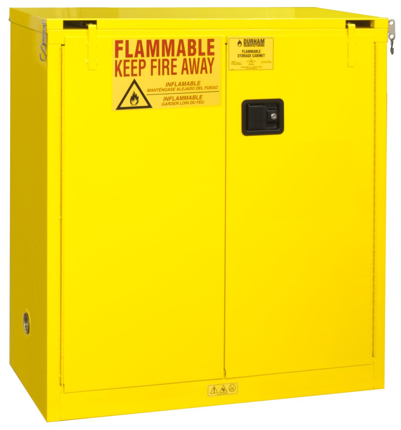 Durham FM Approved 1030S-50 Welded 16 Gauge Steel Flammable Safety Self Closing Door Cabinet, 1 Shelves, 30 gallons Capacity, 18 Length x 43 Width x 45-3/8 Height, Yellow Powder Coat Finish bqlzr 8 inch hairline finish silver security door slide flush latch bolt