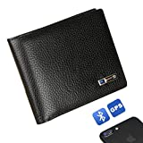Smart LB Smart Anti-Lost Wallet with Alarm, Bluetooth, Position Record (via Phone GPS), Bifold Cowhide Leather Purse (Black,Horizontal) (Color: Black,horizontal, Tamaño: Medium)