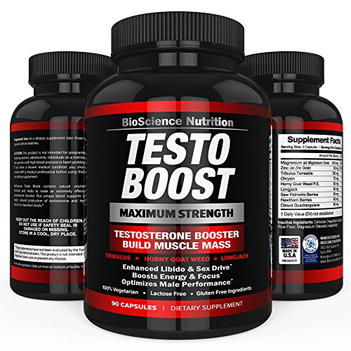TESTOBOOST Testosterone Booster Suppletion | Potent & Natural Herbal Pills | Boost Men Muscle Growth, Sex Drive, Energy | Tribulus, Horny Goat Weed, Hawthorn, Zinc, Minerals | BioScience Nutrition USA