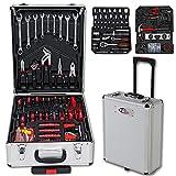 TecTake 251 Pcs Aluminium Metal Tool Box Kit Set Storage Trolley With Chrome Vanadium Tools