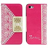 TPT Hot Pink Fashion Sweet Cute Flip Wallet Leather Case Cover for Iphone 5c