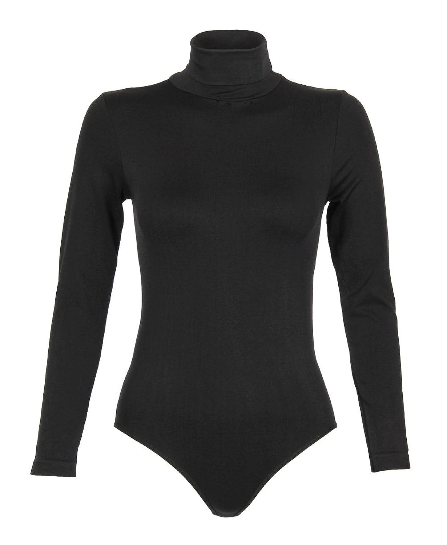 KRISP Damen Langärmeliger Rollkragen Body Bodysuit