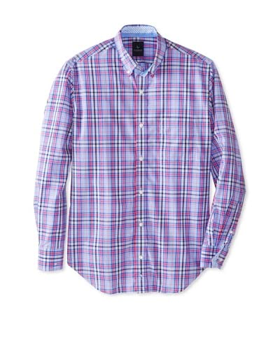 TailorByrd Men's Wedge Long Sleeve Checked Modern Sportshirt