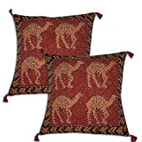 Decorative Cushion Cover Elephant Design Set of 2 Embroidered Cotton Fabric 41 x 41 cmsby DakshCraft