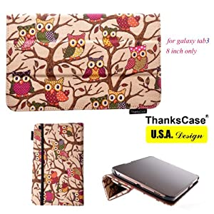 ThanksCase Samsung Galaxy Tab 3 8.0 inth SM-T310 Smart Owl Case Cover with Ultra-Soft Interior,Built-in Magnet for Smart Cover Feature,Built-in Elastic Hand Strap for Secure Grip of the Case on your go.