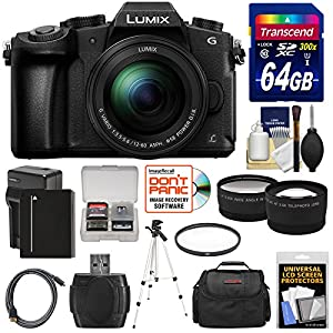 Panasonic Lumix DMC-G85 4K Wi-Fi Digital Camera & 12-60mm Lens with 64GB Card + Battery & Charger + Case + Tripod + Filter + Tele & Wide Lens Kit
