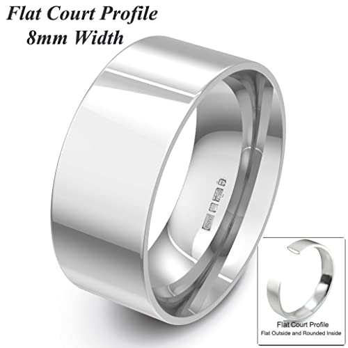 Xzara Jewellery - 9ct White 8mm Flat Court Profile Hallmarked Ladies/Gents 7.8 Grams Wedding Ring Band