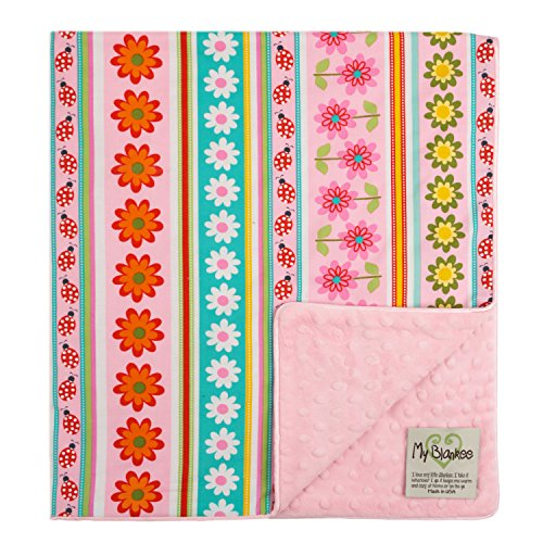 "My Blankee Daisy Stripes Organic  Cotton Pink w/ Minky Dot Pink Baby Blanket, 30"" X 35"""