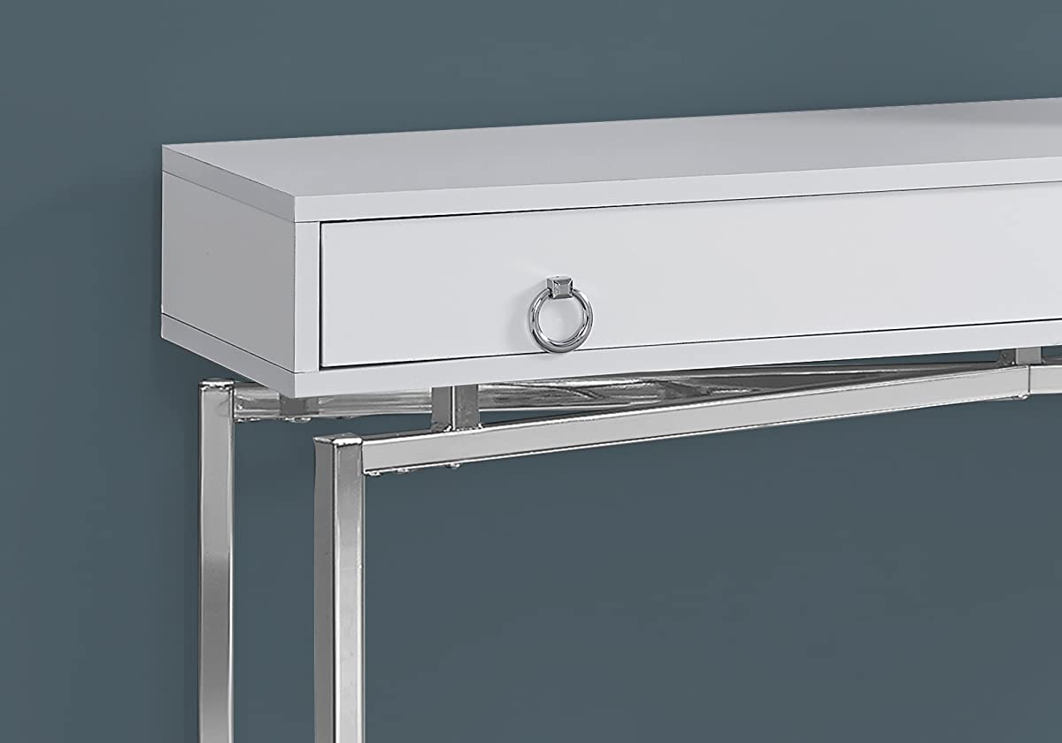 "Monarch Specialties I 2443 42""/Glossy White/Chrome Hall Console Accent Table"