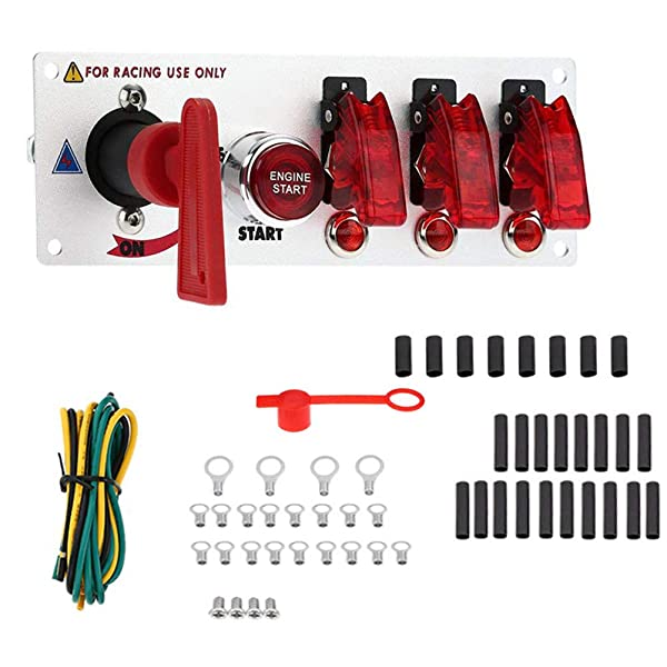 CT-CARID Toggle Ignition Switch Panel Engine Start Push Button 12V 6-in-1 Racing Auto LED Toggle Switch