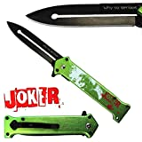 Joker Spring Assisted Opening Pocket Knife Why So Serious? with Belt Clip Tactical Batman Dark Knight 4 Variations (Green) (Color: Green)