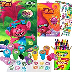 Dreamworks Trolls Coloring and Stamper Activity Book Set - Include 1 Coloring Book (96 pages) , 295 Stickers, 24 Crayola Crayons and 12 Stampers