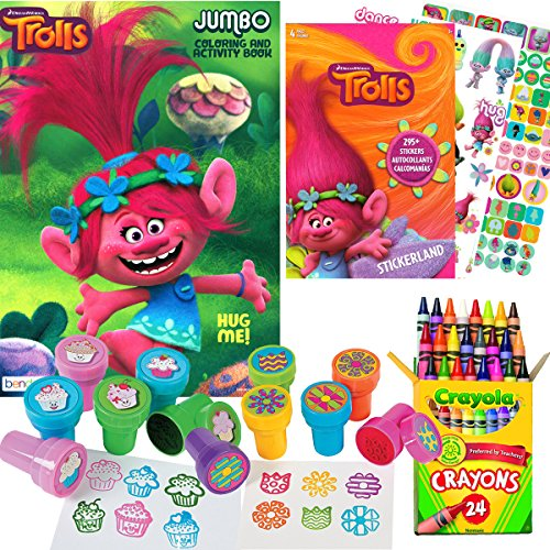 Trolls Coloring and Stamper Activity Book Set - Include 1 Coloring Book