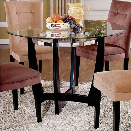 Steve Silver Matinee Inch Round Glass Dining Table In Dark - 48 inch round contemporary dining table