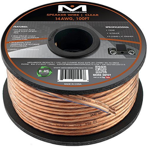 Mediabridge 14AWG 2-Conductor Speaker Wire (100 Feet, Clear)- Spooled Design with Sequential Foot Markings (Part# SW-14X2-100-CL ) (14 Gauge Speaker Wire compare prices)